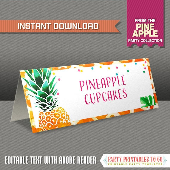 Pineapple Party Food Label / Pineapple Place Cards - INSTANT