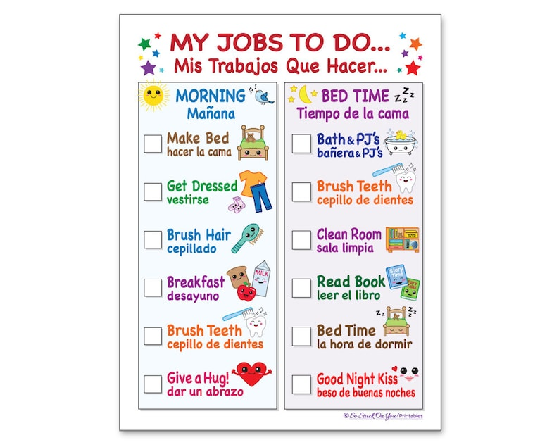 SPANISH! Routine Chore Chart for Morning and Bedtime - Instant Download -  Printable - Kid's keep track of the day while learning Spanish!