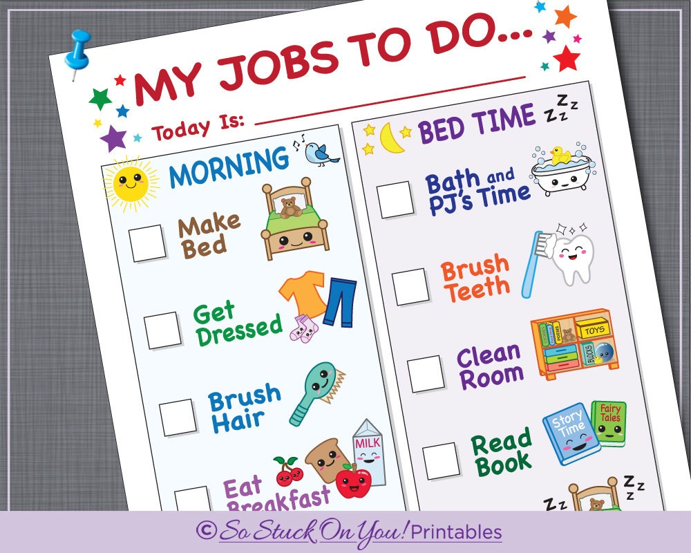 Routine chore chart for morning and bedtime instant download etsy routine chore chart for morning and bedtime instant download printable kids can keep track of their daily routine ibookread Download