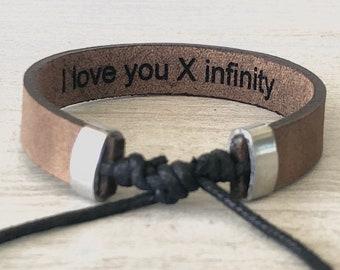 42a18b76948 Men Leather Bracelet,Bracelets For Men,Adjustable men Bracelet,Personalized Leather  Bracelet,Unisex Engraved,Personalized Couple Bracelets