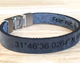 Double Sided Message,Bracelets For Men,Men's Leather Bracelet,Men's Bracelet,Leather Bracelets,Personalized Men Bracelet,Engraved Bracelets