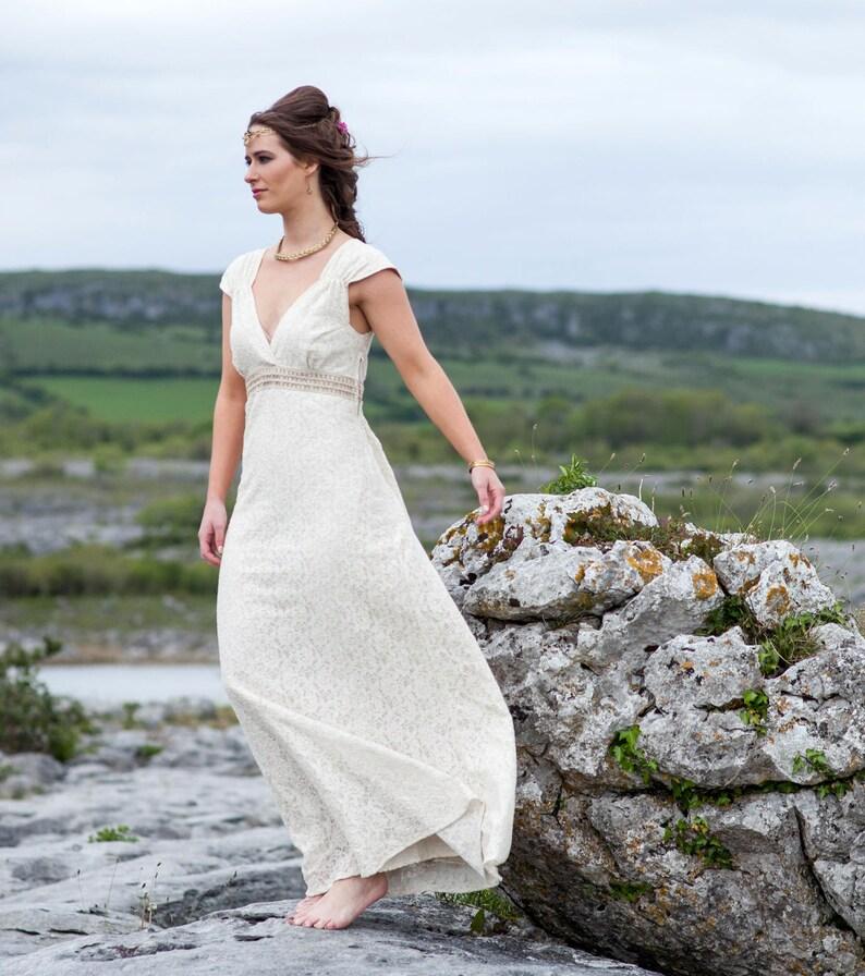 Irish Wedding Dress.Romance Wedding Dress Custom Made Celtic Wedding Dress Celtic Wedding Dress Woodland Dress Rustic Bride Folk Bride Nature Bride