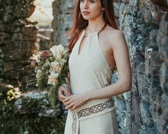 Medb Pagan wedding Dress, Celtic Wedding, Natural Wedding Dress, Celtic Wedding Dress, Reinassance Dress, Custom made, Pagan, Simple Wedding