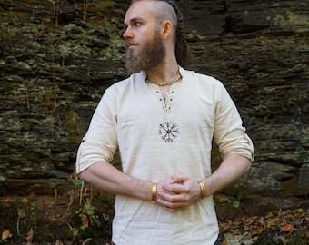 Viking Shirt, casual Shirt, Viking Shield, linen shirt, Ozora, Vegvisir, Viking man, Ragnar, Re-enactment, Earthy, Celtic.