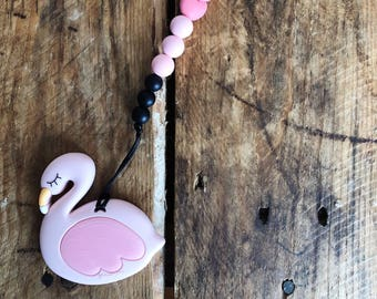Flamingo Teether, Pacifier Clip, Soother Clip