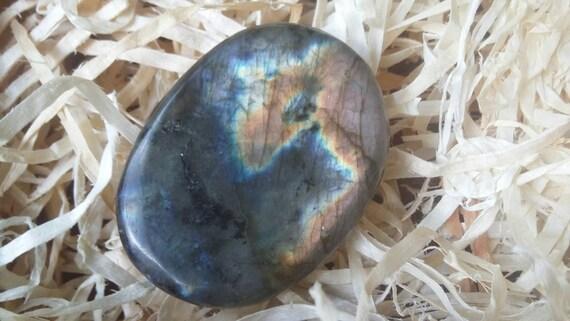 Pierre de labradorite Palm, Labradorite vous inquiétez pas pierre, Labradorite Palm pierre bleue, Labradorite marron vous inquiétez pas pierre, #147