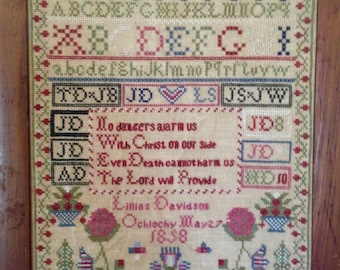 Lillias Davidson 1858 Reproduction Sampler Chart