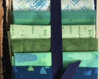 Rita's Luscious Layers - 8 Fat Quarter Bundle - Sea Glass