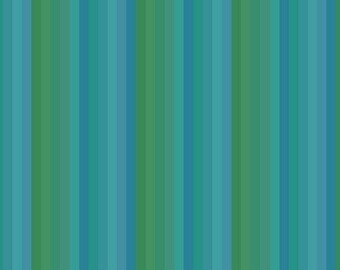 Getting To Know You Hue Blue Green Striped - Fabric by the Yard