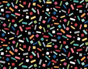 Sprinkle Sunshine Confetti on Black Fabric - Studio E -Fabric by the Yard