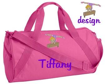 12e61cfe4dd2 Custom Embroidered Monogrammed GYMNAST GYMNASTICS Hot Pink Duffel Bag Childrens  Kids Girls Teen Backpack tote School Camp Personalized