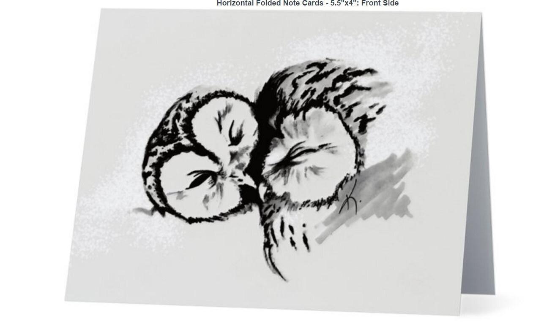 Owl Love Original Art Greeting Card Blank Inside 55 X Etsy