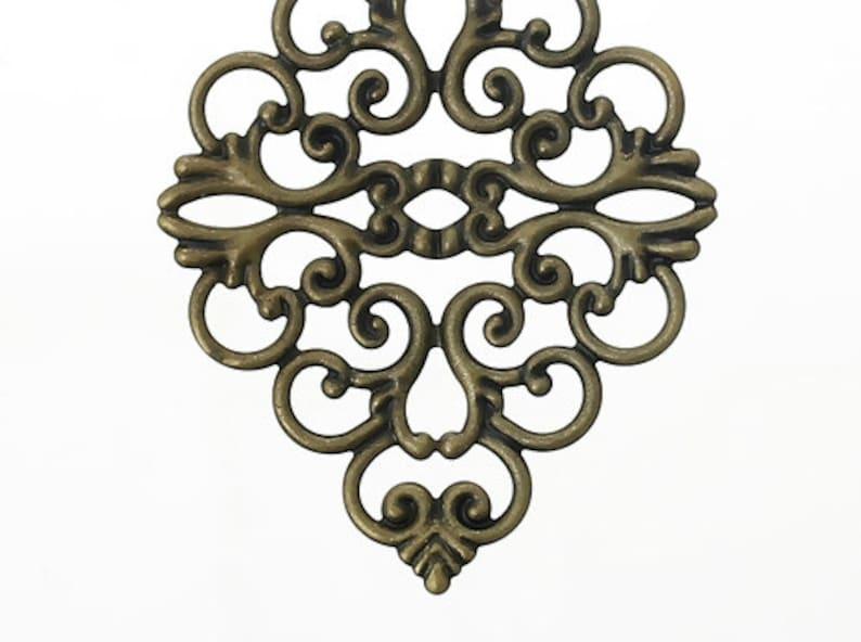 Pack of 20 Zinc metal alloy Embellishments Findings Rhombus Antique Bronze Hollow Flower Pattern