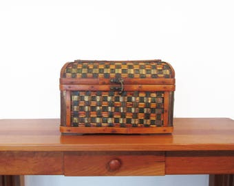 Wooden Rattan Brass Woven Domed Storage Chest Trunk with Lock