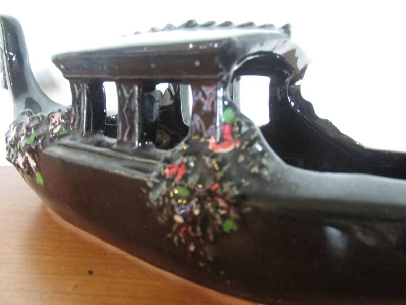 McCoy Black Floral Gondola Planter