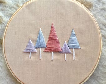 "Pastel Pine Trees 6"" Embroidery Hoop"