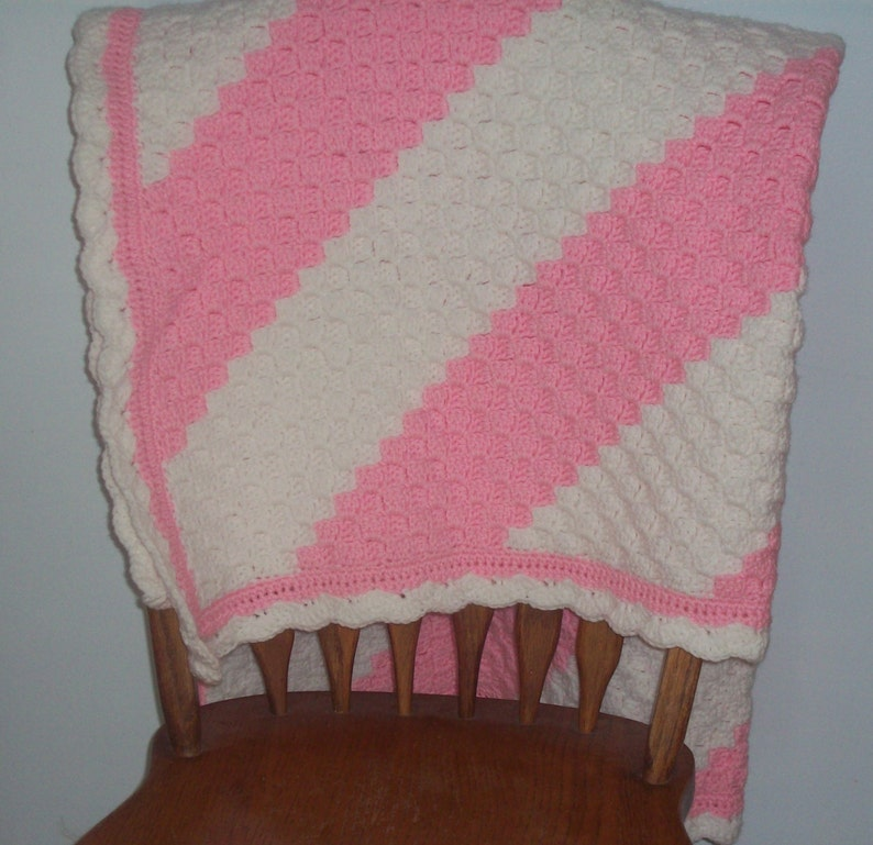 Crocheted Corner to Corner C2C Afghan Throw Baby Blanket - Soft Pink and  White