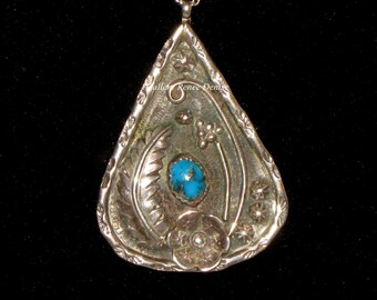 Turquoise ? Pendant Necklace Sterling Silver Vintage Southwestern Navajo Native American Necklace SWN127
