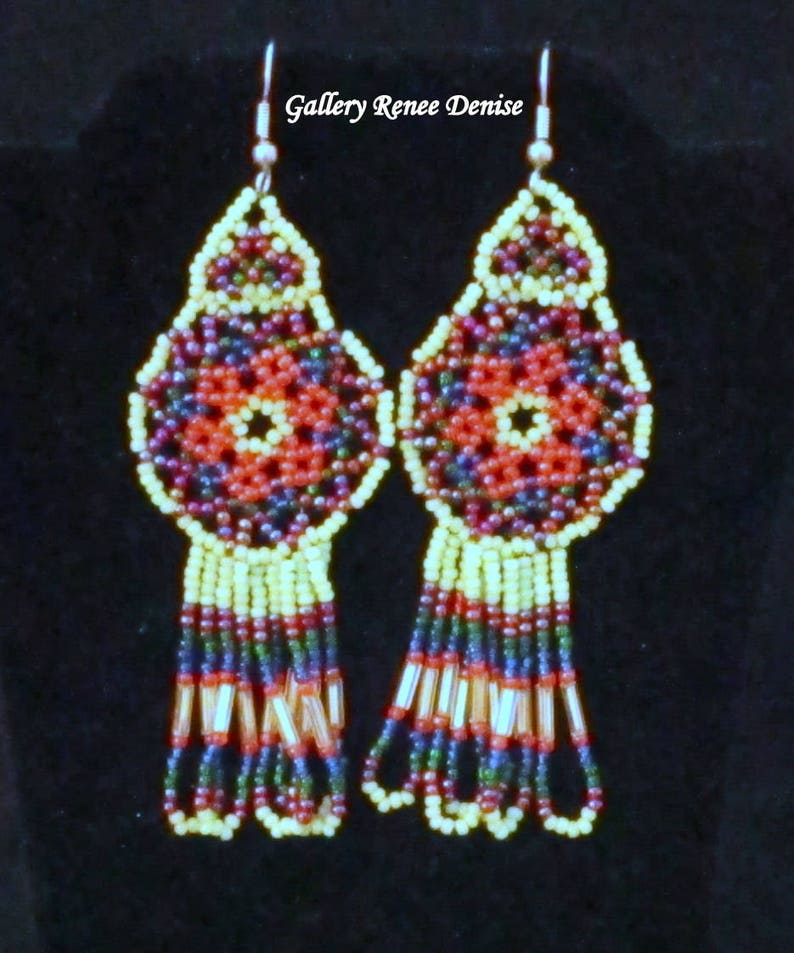 Dream Catcher Earrings Western Native American Long Seed Bead Earrings Vintage Sea Green Orange Red Blue White BDE106