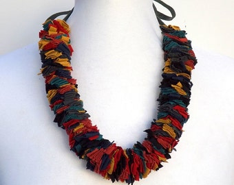 Multi color Fabric Necklace. Colorful fabric strips. Handmade fabric necklace. Fabric jewelry.