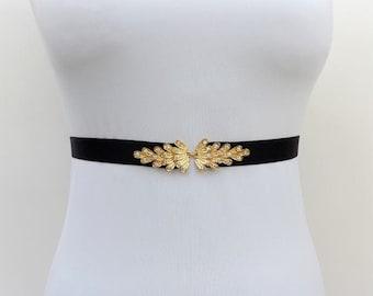 Black elastic waist belt. Gold rhinestone belt. Sparkly belt. Dress belt. Stretch belt. Evening belt. Wedding belt. Elegant belt.