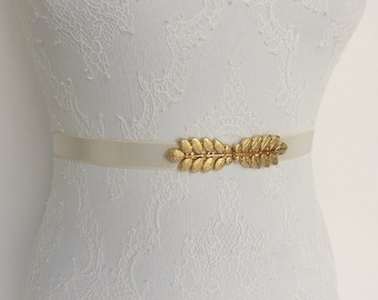 dadf191f048 Bridal ivory elastic Gold leaf dress belt