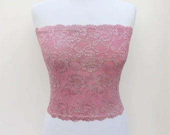 Antique pink lace strapless bandeau top. Floral lace top. Lined tube top.