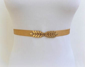 Gold leaf belt. Elastic waist belt. Dress belt. Stretch belt. Grecian belt. Wedding belt. Bridal belt. Greek belt. Bridesmaids belt.
