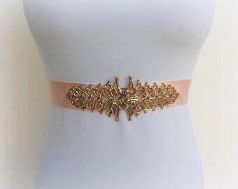 Light peach belt. Gold filigree belt. Wide belt. Elastic waist belt. Blush belt. Peach belt. Dress belt. Bridal belt. Gold belt.