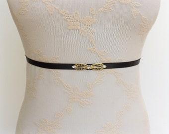 Black waist belt. Elastic belt. Thin belt. Skinny belt. Swarovski crystals belt. Dress belt.