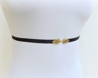 Black belt. Elastic waist belt with gold filigree centerpiece. Skinny waist belt. Thin belt. Dress belt.