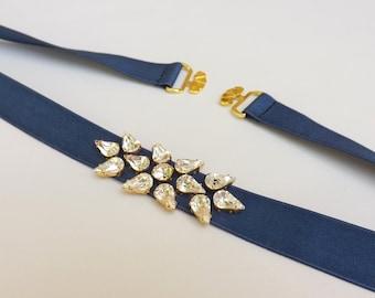 Navy blue belt. Elastic waist belt. Swarovski crystals belt. Sparkly dress belt. Stretch belt. Dark blue belt. Jeweled belt. Bridal belt.