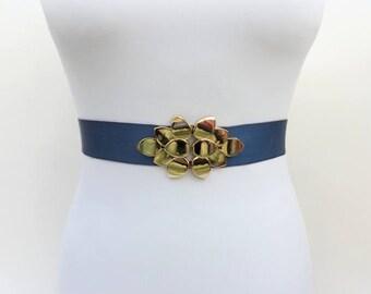 Navy blue elastic waist belt. Dress belt. Stretch belt. Gold leaf belt. Evening belt. Wedding belt. Bridal belt. Bridesmaids belt.