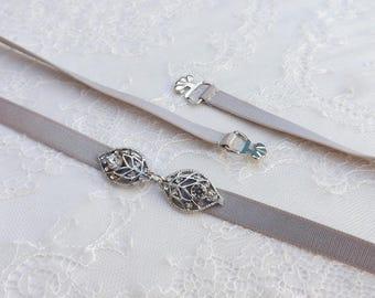 Gray elastic waist belt. Rhinestone leaf belt. Thin belt. Silver leaf belt. Dress belt. Skinny belt. Bridal belt. Bridesmaids belt