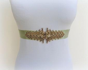 Mint green belt. Wide belt. Gold filigree belt. Green elastic waist belt. Pastel green belt. Dress belt. Gold belt.
