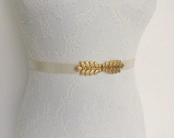 Ivory belt. Gold leaf belt. Elastic waist belt. Bridal belt. Dress belt. Bridesmaids belt. Grecian belt.