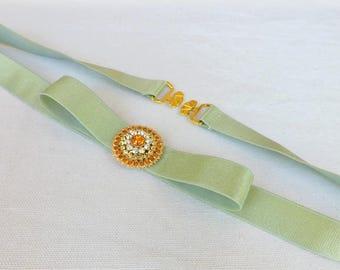 Mint green bow belt. Elastic waist belt. Rhinestone belt. Dress belt. Bridal belt. Bridesmaids belt. Wedding belt. Evening belt.