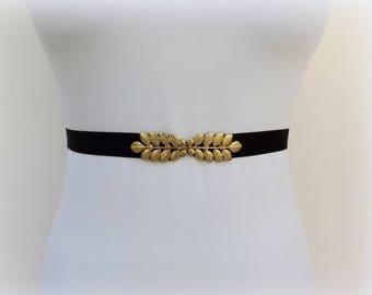 Elastic velvet belt. Black velvet belt. Gold leaf belt. Dress belt. Waist belt.