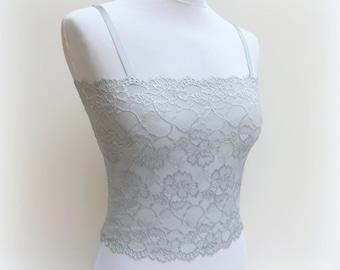 a5a2eb3c38704 Steel gray lace camisole. Floral lace tank top. Lace bralette. Gray top.  Lace lingerie. Gray lingerie.