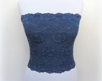 2c8176e4a7 Navy blue lined floral lace strapless. Dark blue bandeau top.