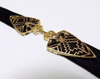 Elastic Waist Belt with gold filigree buckle. Skinny dress belt. Stretch belt.