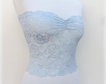 Light blue floral lace strapless. Lace bandeau top. Light blue lingerie. Light blue lace tube top.