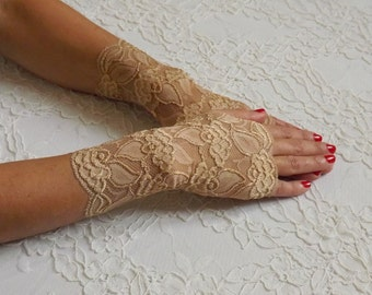Gold fingerless lace gloves. Elastic floral lace mittens. Wedding gloves.