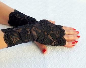 Black short elastic floral lace fingerless gloves