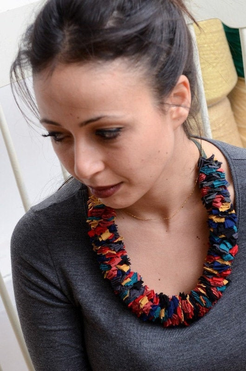 Multicoloured fabric strips necklace image 0