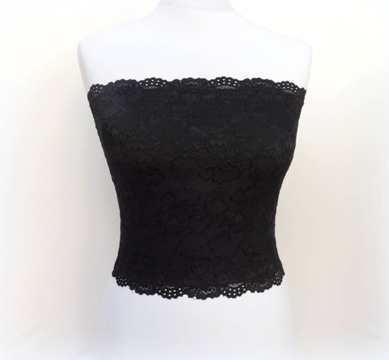ab4993f790 Black lined floral lace strapless. Black lined bandeau top.