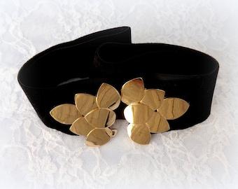 Elastic waist belt. Elastic black velvet belt with gold leaf buckle. Black wide dress belt.