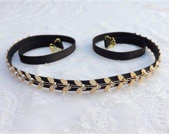 Black elastic waist belt. Gold leaf belt. Grecian belt. Skinny belt. Rhinestone belt. Dress belt. Thin belt. Stretch belt. Greek belt.