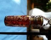Antique Brass Red Glass Gold Enamel Perfume Bottle Chatelaine