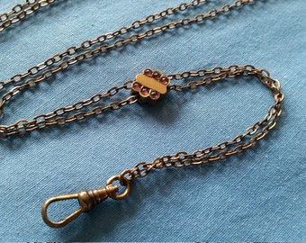 Antique Gold Filled Purple Stones Slide Watch Chain Necklace